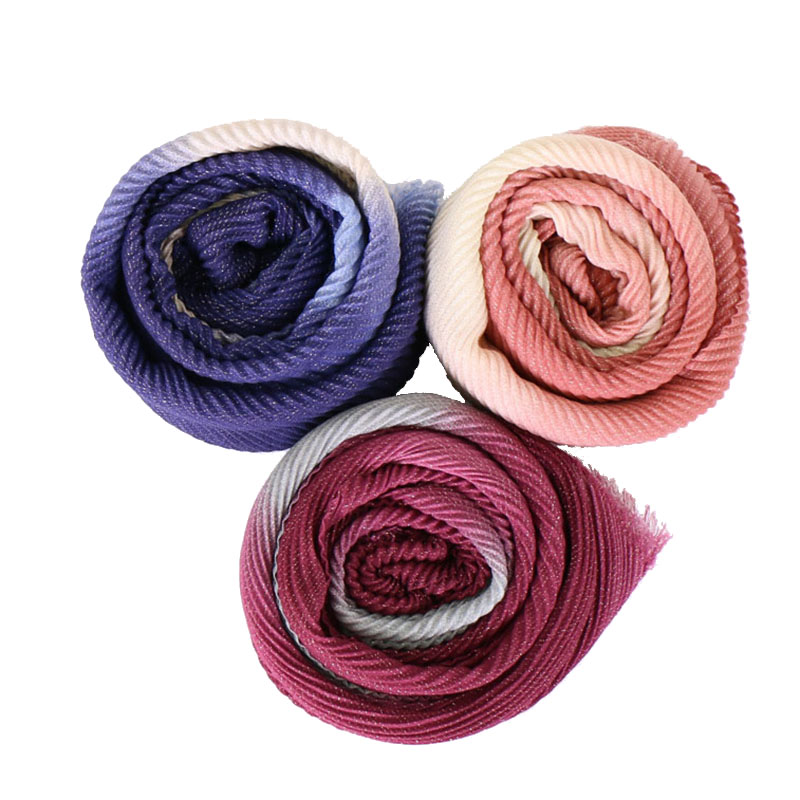 Crinkle hijab Gold thread scarf Ombre shawls muslim glitter scarves fringed cotton wraps stretchy headband scarves 10pcs/lot