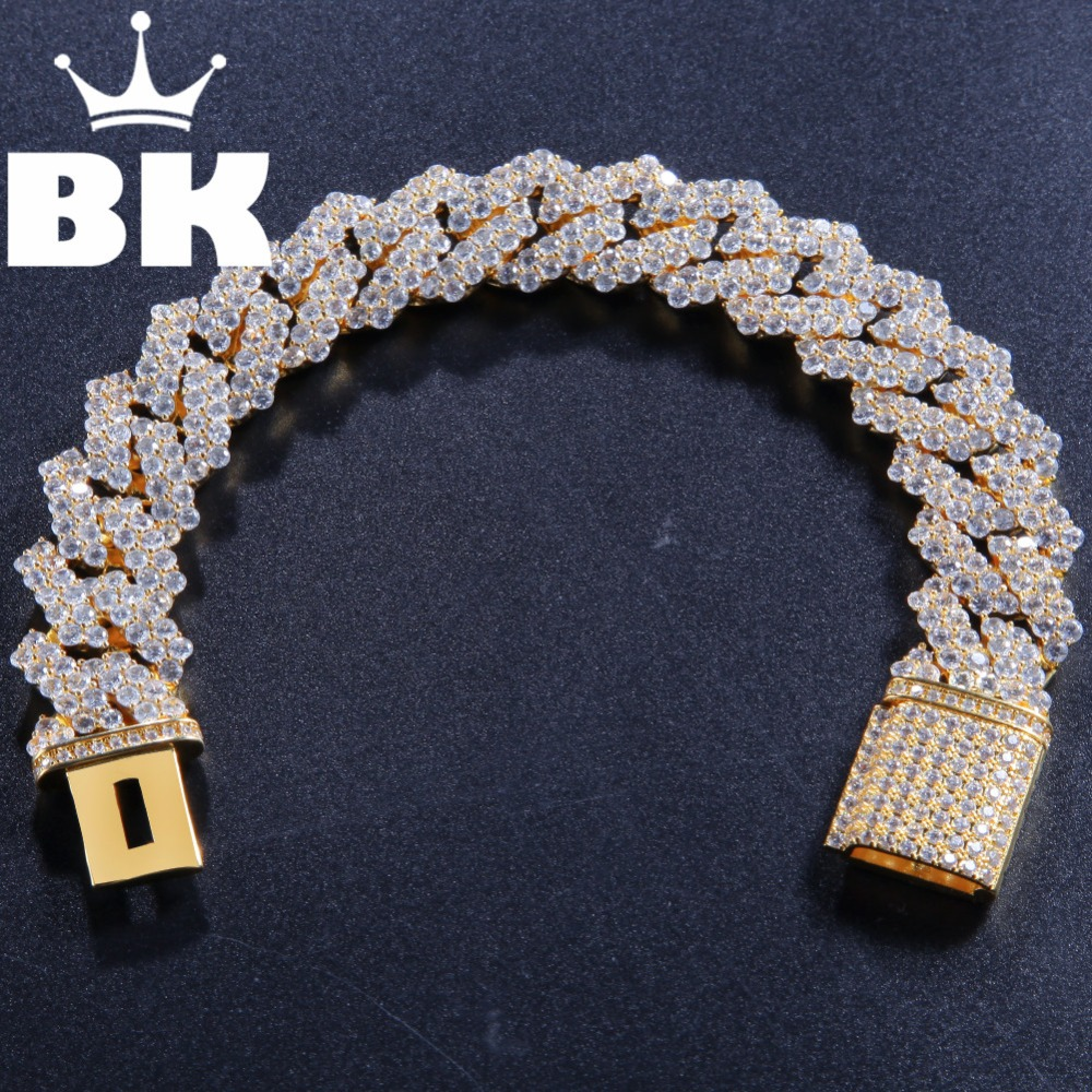 17mm Copper Return form Curb Cuban Bracelet Iced Out CZ Bracelet Gold Silver Color For Men