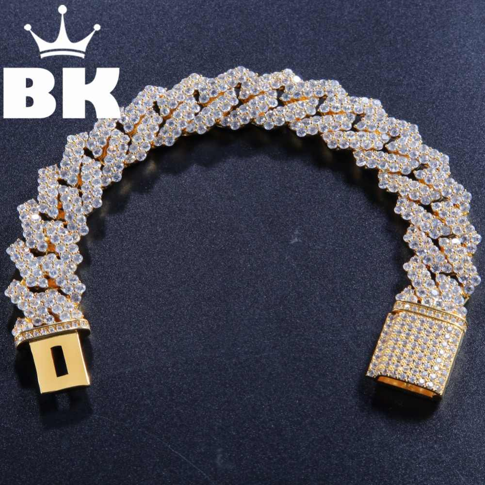 17mm Copper Return form Curb Cuban Bracelet Iced Out CZ  Bracelet Gold Silver Color For Men Luxury Box Clasp Drop Shipping