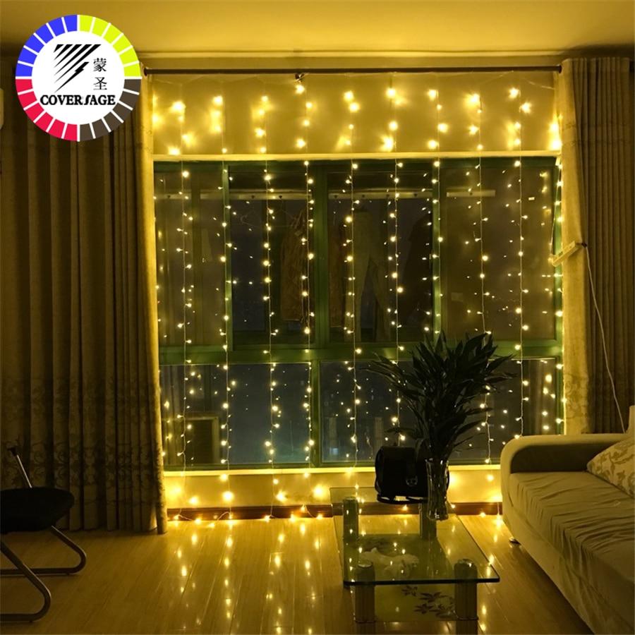 Cobertura Fairy cortina guirnalda árbol de Navidad de luz decorativos LED String Navidad 3x3 m 3x2 m 3X1 m jardín Partido de la boda luces