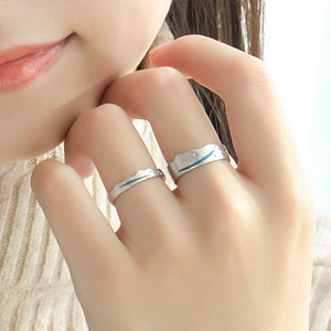 Image 5 - Thaya Time Travel Wave Blue Finger Ring Stackable S925 Sterling Silver Drawing Line Open Rings Women Jewelry Handmade Lover Gift
