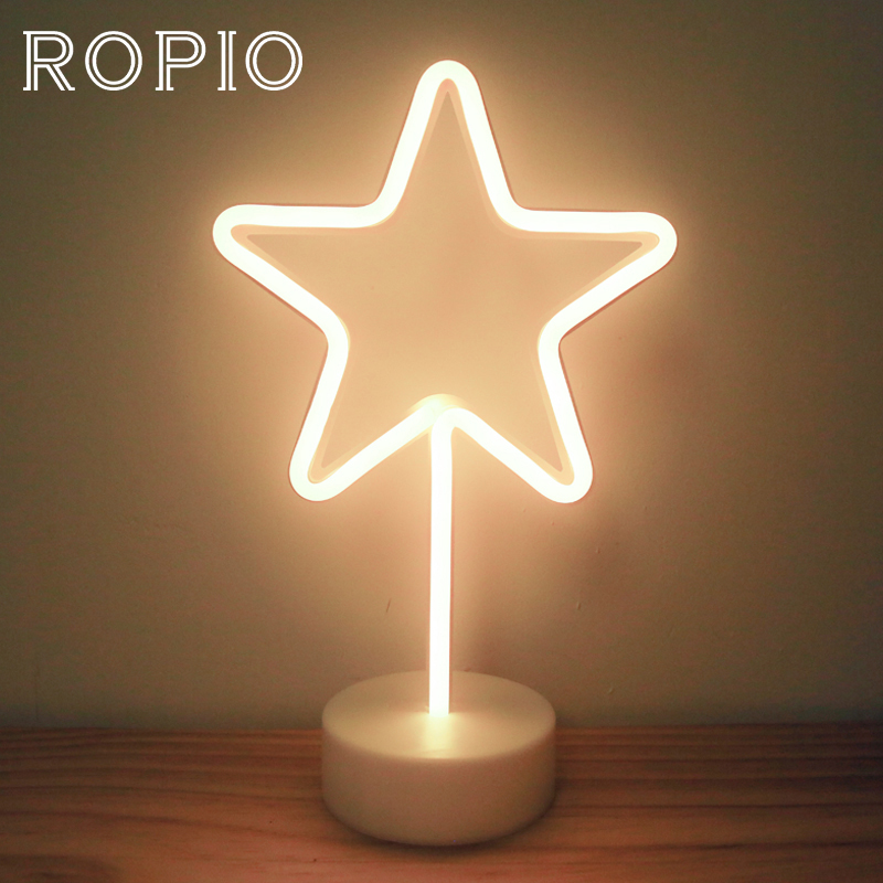 ROPIO LED Neon Abajur Night Light Desk Lamp Star Moon Thunder Battery Operated for Holiday Light Festival Party Wedding DecorROPIO LED Neon Abajur Night Light Desk Lamp Star Moon Thunder Battery Operated for Holiday Light Festival Party Wedding Decor