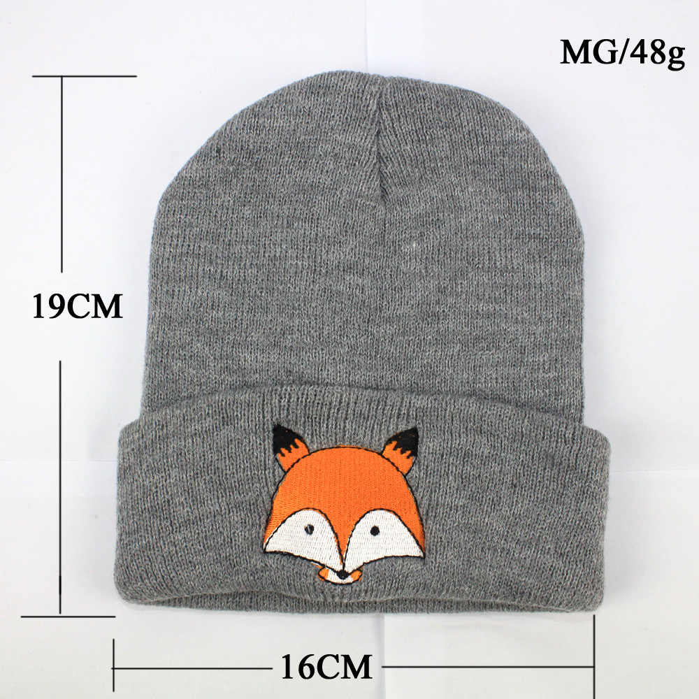 6a6af89569cc41 ... Comfortable Knitted Baby Autumn Winter Warm Hat Foldable Brim Beanie  Cap Embroidered Fox Durable Washable Skull ...