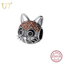 U7 925 Sterling Silver Lovely Cat Beads Cubic Zirconia Animal Charm fit Women Bracelet Bangle 2018 DIY Jewelry Making Gift SC234(China)