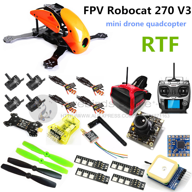 FPV Robocat 270 V3 quadcopter drone with camera mini CC3D + 2204II 2300KV motor +AT9 remote control + head display + TS5828 drone with camera rc plane qav 250 carbon frame f3 flight controller emax rs2205 2300kv motor fiber mini quadcopter