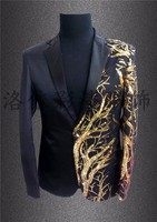 Men Blazers 2018 Men Stage Jacket Men Costumes Club Singer Sequins Blazer Stage Black Red Gold Blazer Men Casacas Hombre CD50