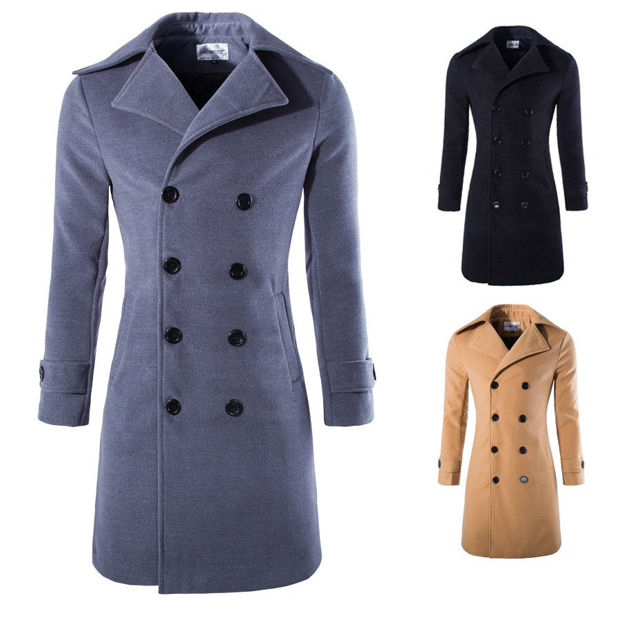 Mens Long Coat Slim Fit Double Breasted Trench Coat Woolen Blend Business Casual