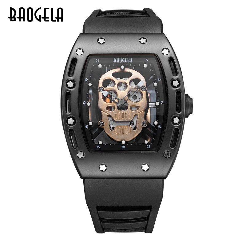 BAOGELA New Arrival Style Pirate Skull Quartz Men Watches Military Silicone Brand Mens Sports Watch Waterproof Relogio Masculino skone genuine pirate skull style quartz men watches brand men military leather men sports watch waterproof relogio masculino