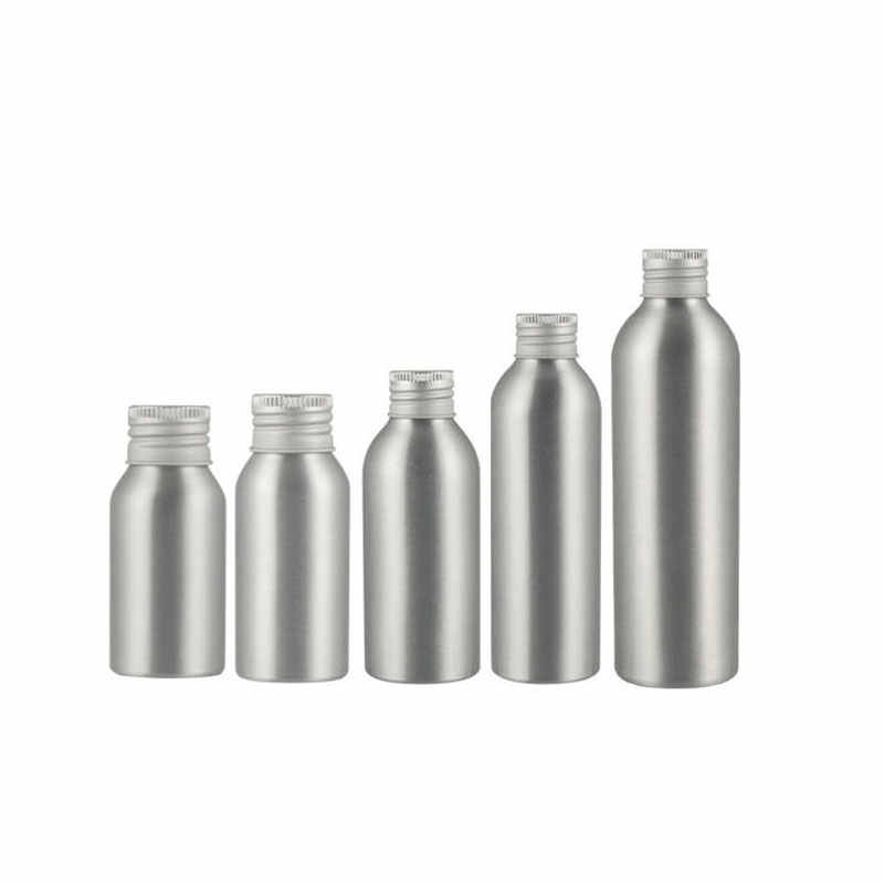 Silver Aluminum Bottle With Screw Cap , Metal Storage Cosmetic Package Container For Essential Oil Perfume Spa Oil