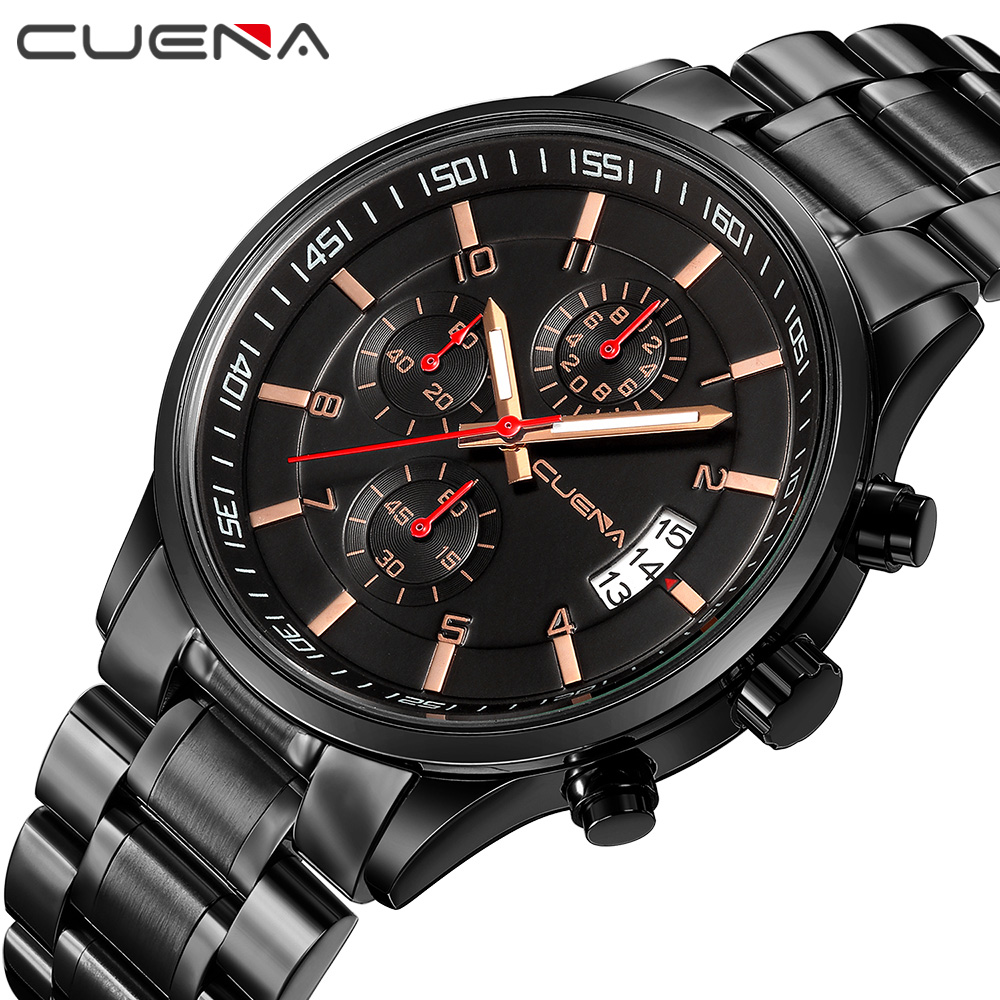 CUENA Quartz Watch Mature Fashion For Men Stainless Steel Wristwatches Waterproof Luminous Hands Complete Calendar все цены