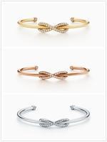 SHINETUNG 1:1 Original TIFF S925 Sterling Silver Classic Elegant Fashion Open Bracelet Cuff Bracelet For Woman Girl Jewelry