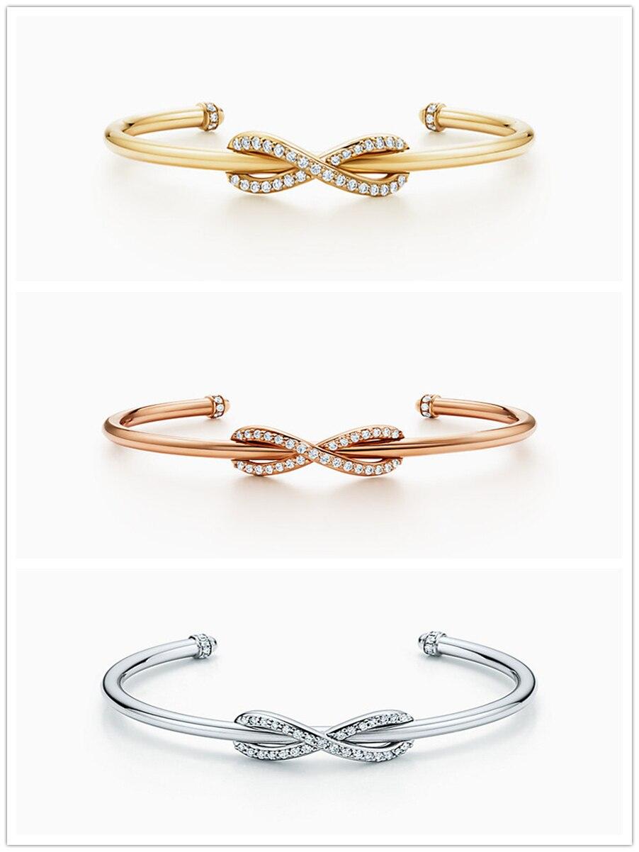 SHINETUNG 1:1 Original TIFF S925 en argent Sterling classique élégant mode Bracelet ouvert Bracelet manchette pour femme fille bijoux