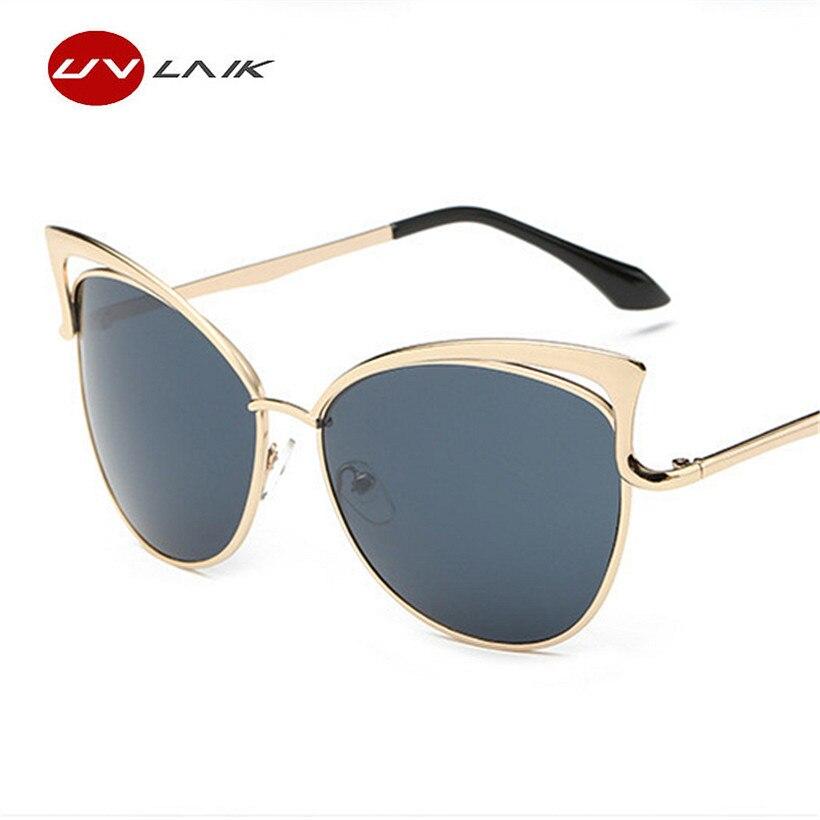 UVLAIK gato ojo gafas de sol mujer Metal Oversized gafas marco ojos ...