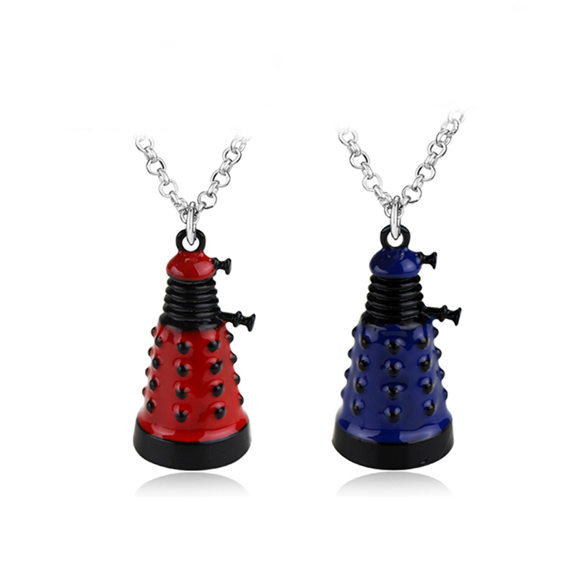 Movie Dr Doctor Who Dalek Necklace Fashion Retro Alien Robot Villain Blue Red Keychain Pendant Jewelry keyring For Men & Women image