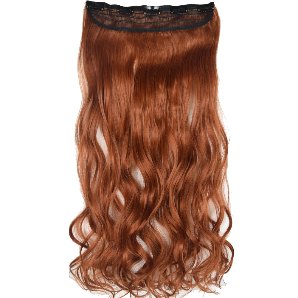 Heat Resistant B5 Synthetic Fiber 130gr Wavy 5 Clips On Clip In Hair Extensions 5018