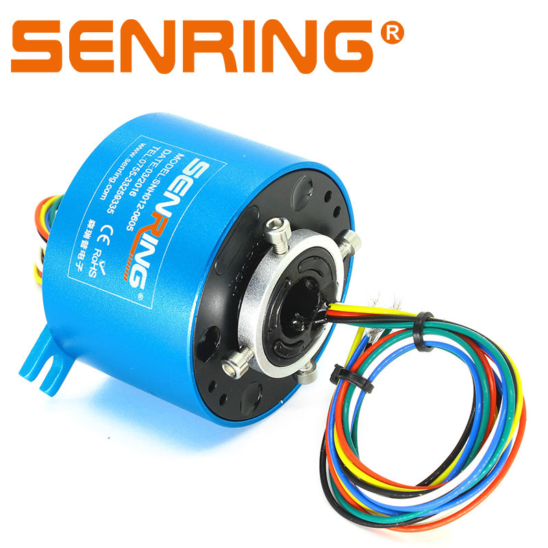 Small Through Hole Slip Ring 12.7mm Bore Size 2/3/4/6 Wires 2A/5A/10A Precious Metal Contacts for Light Duty OD56mm