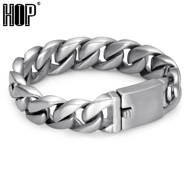 HIP Heavy Rock Curb Link Chain Bracelet For Men Cool Titanium Stainless Steel Charm Bangles & Bracelets Mens Accessories Jewelry trustylan cool stainless steel dragon grain bracelets men new arrival punk rock keel mens bracelets