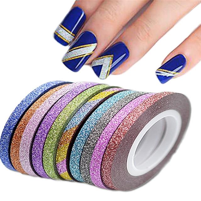 SWEET TREND 1Rolls 3mm Glitter Nail Art Tape Line Strips Striping ...