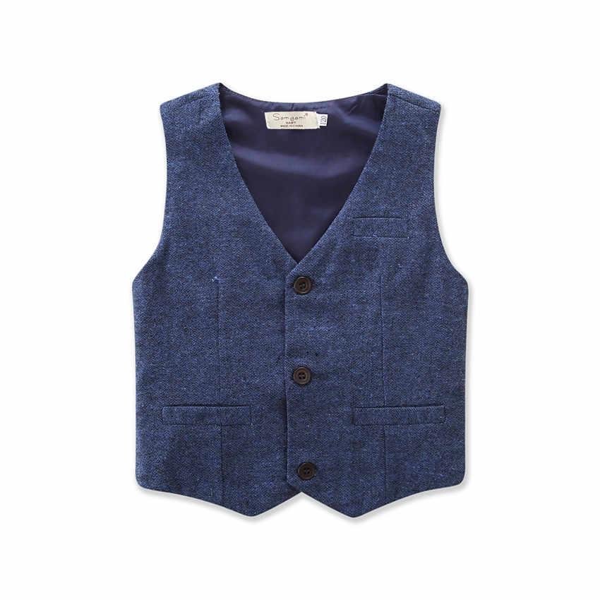 สไตล์อังกฤษแฟชั่นเด็ก Blazer เสื้อผ้าสุภาพบุรุษอย่างเป็นทางการชุดเสื้อกั๊กเสื้อผ้าเสื้อกางเกงชุด 3pcs ชุดชุด d20