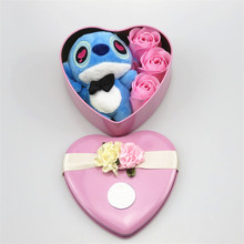 Heart Shaped Flower Box With Plush Lilo Stitch and Soap Roses