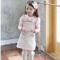 2015 nuevo arco del verano de las muchachas de manga larga a cuadros lindo niños vestidos para niñas juego de la ropa 2 ~ 7 age party girls bebé vestidos