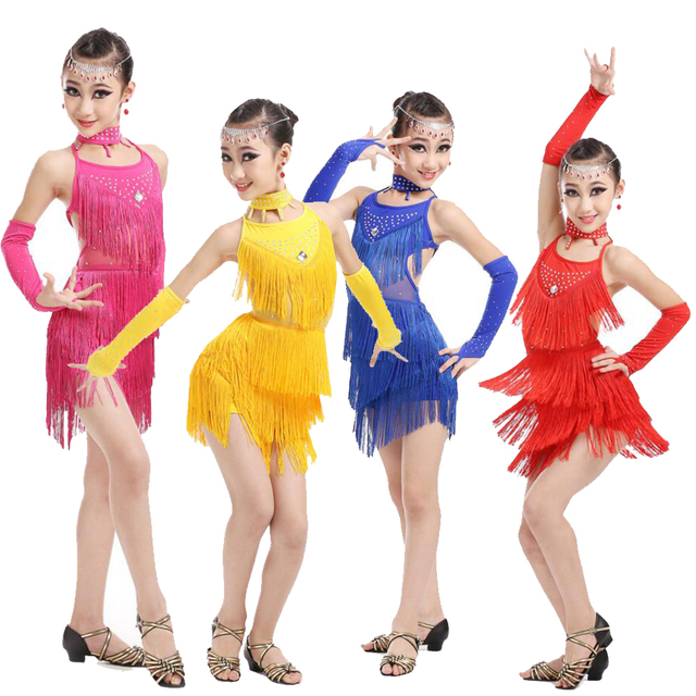 fc81b331c Sequined Tassels Girls Salsa Dancing dress Kids Ballroom Dance wear ...