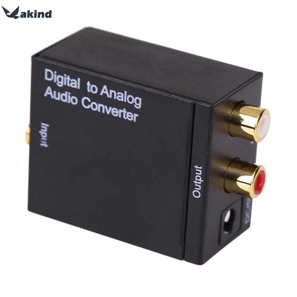 Digital Optical Coax Coaxial Toslink to Analog RCA L/R Converter Adapter With Optical Fiber
