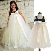 New Hot Children Ivory Tutu Dresses For Party Wedding Clothing Size 2 9Y Vestido Infantil Baby