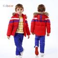 Boys Winter Clothing Sets Snowsuit 2016 New Ski Suit Down Jacket Children's Girls Warm Fur Hooded Coat+Pants Kids Russia Parkas