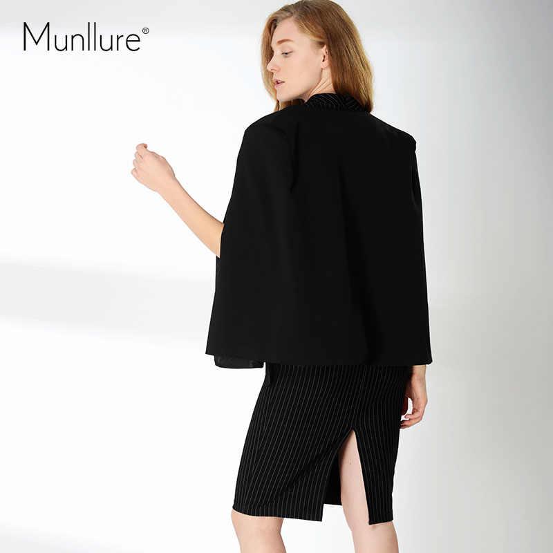 Munllure, новинка 2018, Женское пальто, одноцветное, открытый рукав, уникальный дизайн, черное, Асимметричная Длина, пальто, женский маленький пиджак
