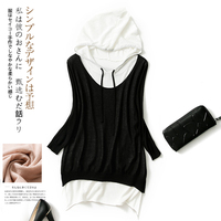 Kawaii Harajuku Thin Women Hoodies Sweatshirt Tops Pullovers Blouse Summer Knitted Clothing Long Sleeve Fake Two Pieces Tops