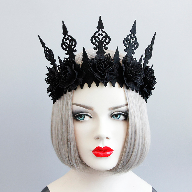 Lady Queen Head Wreath Vintage Gothic Black Crown Roses Tiara Headband Halloween Party Masquerade Cosplay Accessory