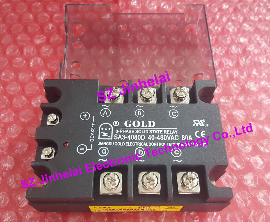 SA34080D (SA3-4080D) GOLD New and original SSR Solid state relay 4-32VDC 40-480VAC 80A new and original sa34080d sa3 4080d gold solid state relay ssr 480vac 80a