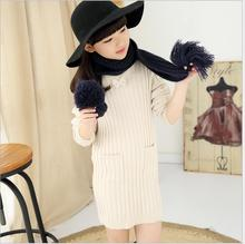 Turtleneck Pullover Knit Sweaters Cashmere Loog Sleeve Bow Girl Clothing 2017 Autumn Winter Medium length Kid Cosume S052