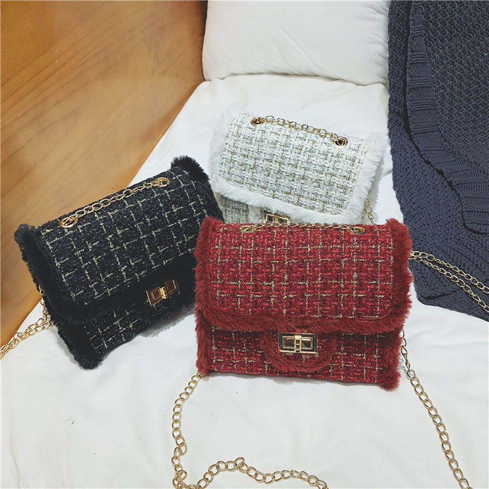 Luxury Chains Women Bags Plush Wool Bag Tide Chain Single Shoulder Small Square Handbags Sac A Main Femme De Marque Luxe 5.2 L2