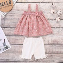 Summer Baby Girls Pattern T-shirt  Sleeveless Floral Tops+Shorts Suits Casual Outfits Sets