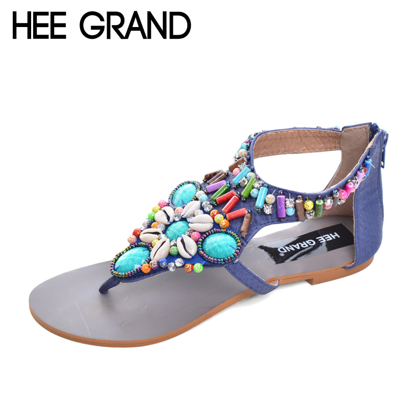 HEE GRAND Vintage Gladiator Sandals Beaded Summer Flats Platform Shoes Woman Slip On Rhinestone Women Shoes Size 35-41 XWZ2078 hee grand wedges gladiator sandals summer style women ankle boots platform shoes woman slip on flat open toe women shoes xwz2583