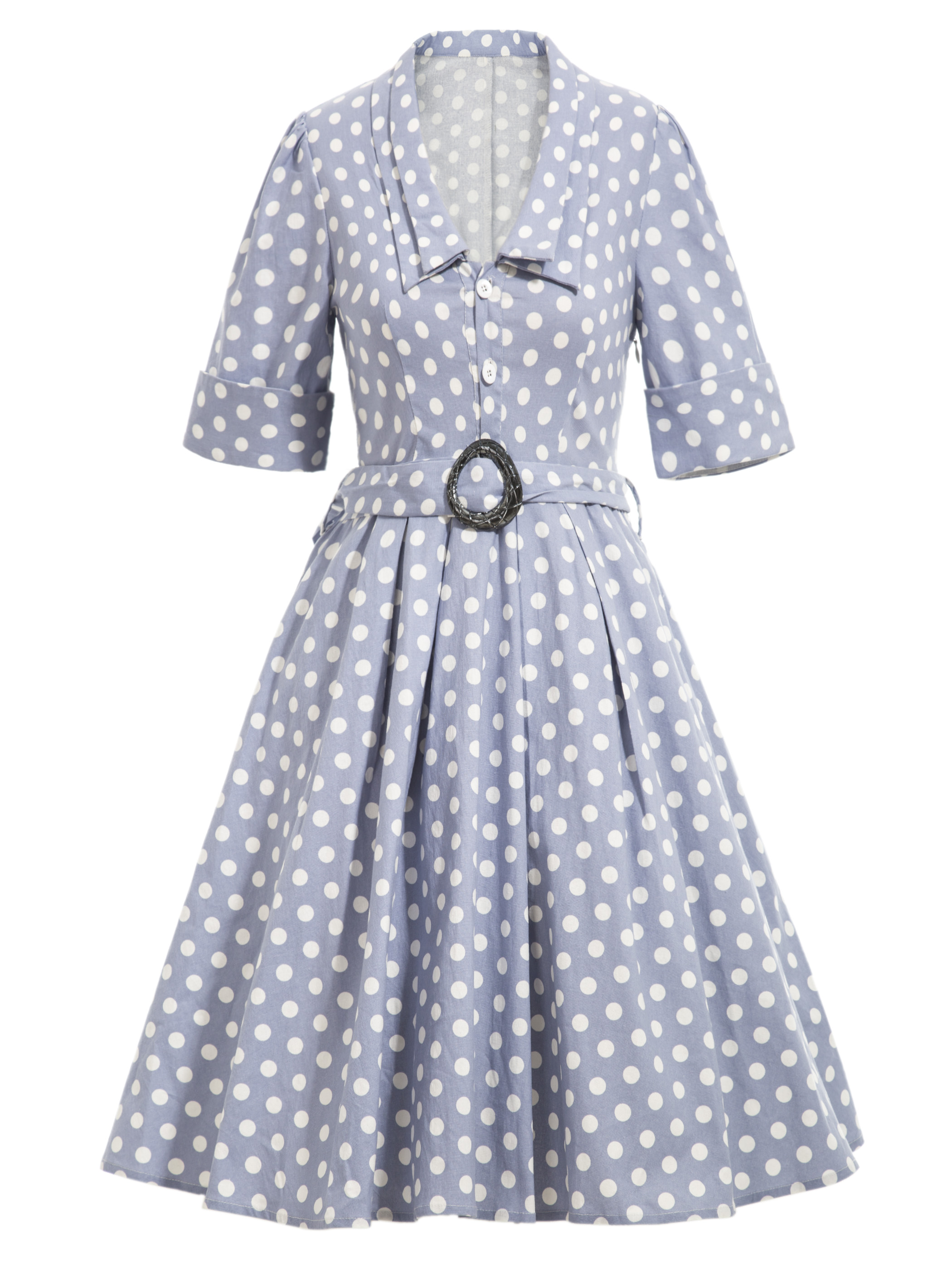 f656dc5fb9f Women Polka Dots Dress Shrug Sleeve Light Blue Belt Slim A-line Dress Short  Sleeve Turn Down Collar Lady Shirts Vintage Dress