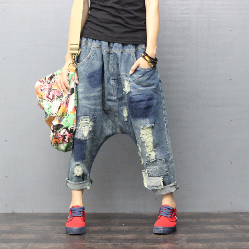 Women Ripped Hole Wide Leg Drop Crotch   jeans   hip hop streetwear Baggy Harem   Jeans   pants Boyfriend Bloomers Denim Trousers ZH896