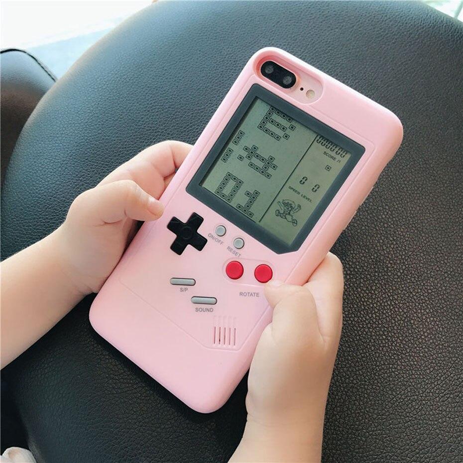 2018 moda tetris gameboy caso do telefone para o iphone 7 8 plus 6s mais capa completa duro jogos de computador console de volta escudo para iphone 7 8