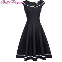 Belle Poque Vintage Dress 50s Nautical Summer 2017 Black Pin Up Short Sleeve Lapel Women Sailor Collar Bow Party Elegant Dresses