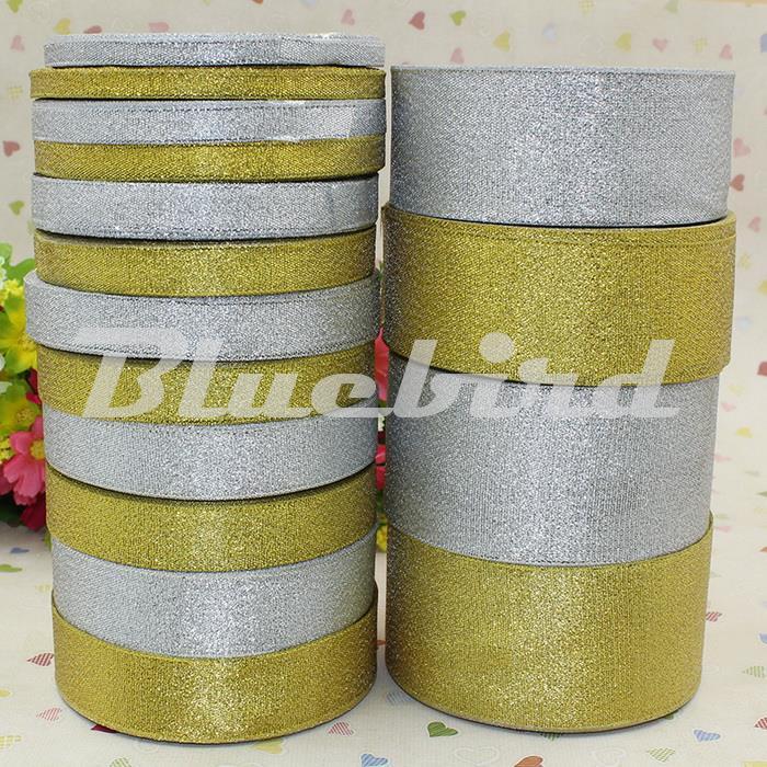 25 ярдов Золотой пояса лук лента для подарочной упаковки, золотые и серебряные блестки ленты 6 мм, 10 мм, 12 мм, 15 мм, 20 мм, 25 мм, 40 мм, 50 мм