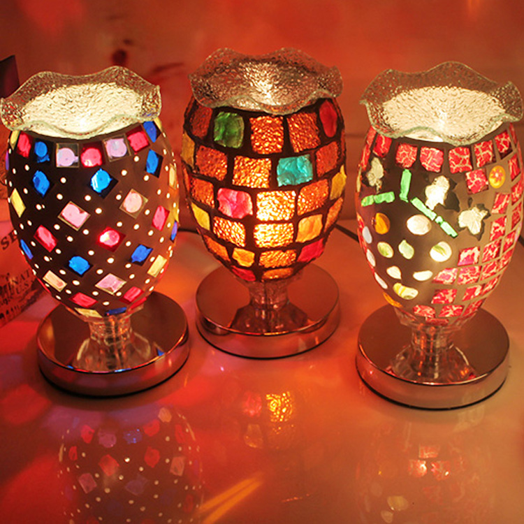 Tiffany colorful Table Lamps complex antique mosaic lamp burner plug wedding lamp oil lamp table lights DF27 tiffany of shipping complex table lamps antique mosaic burner plug oil wedding retro wind mosaic aroma table light