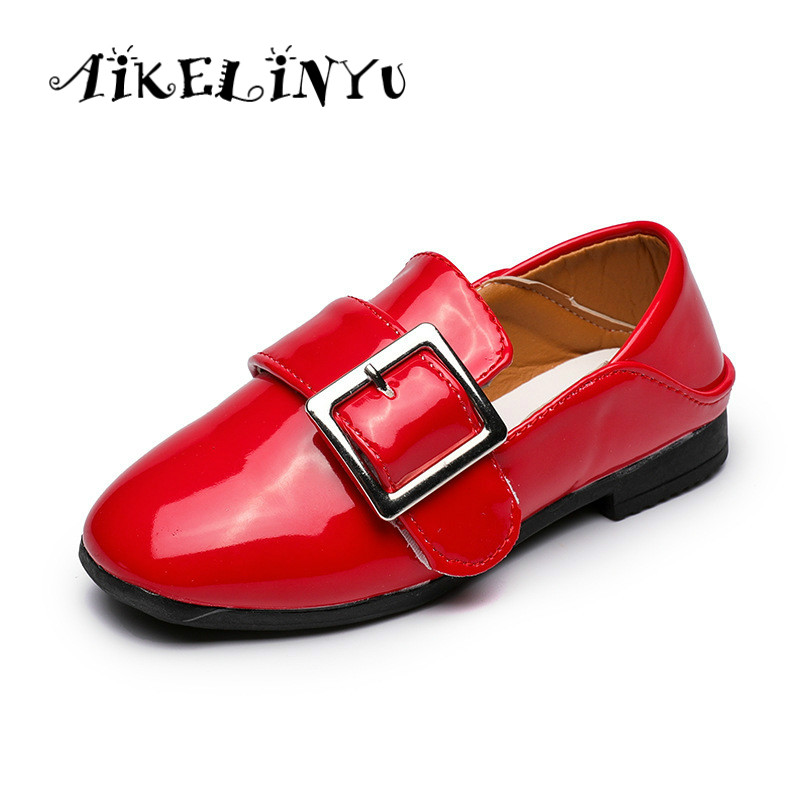 AIKELINYU Autumn Children Patent leather girls Red soft bottom dance shoes Kids Princess shoes Baby children Flat Casual shoes