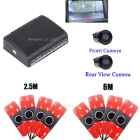 Original 16.5MM New Dual Channel Video Car Parking Sensors Reverse Radar System 8 Sensor with Front & Rear view Camera Parking