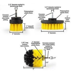 Image 3 - 3 pièces/ensemble brosse autolaveuse électrique perceuse brosse propre pour les Surfaces de salle de bain baignoire douche carrelage coulis sans fil puissance gommage Kit de nettoyage