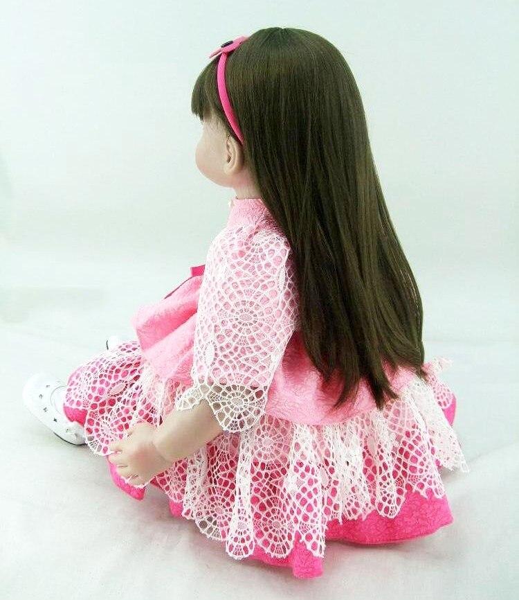 22 56 cm Reborn babys puppen infant prinzessin kleinkind rose rosa kleid spielzeug baby mädchen realistische brinquedos Spielzeug geschenke sammlung - 6