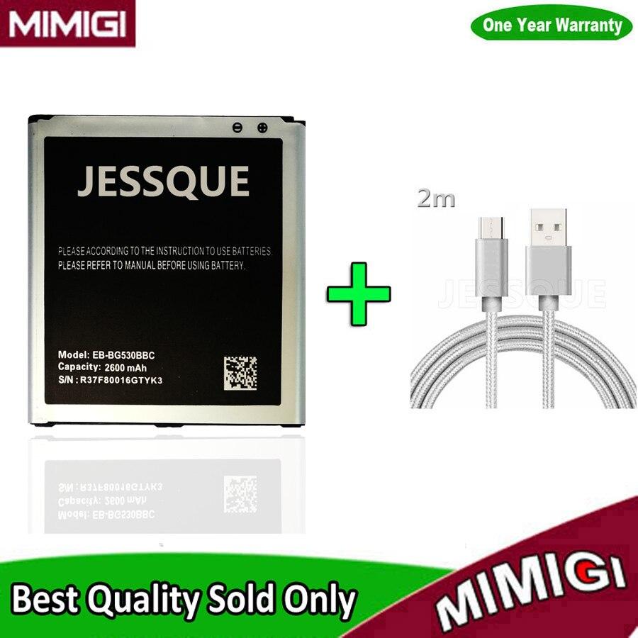 Original 100% 2600mAh Battery For Galaxy Grand Prime J3 2016 G5308W G530 G530F G531F G530F AKKU + 2m USB 2.0 Data Cable gift