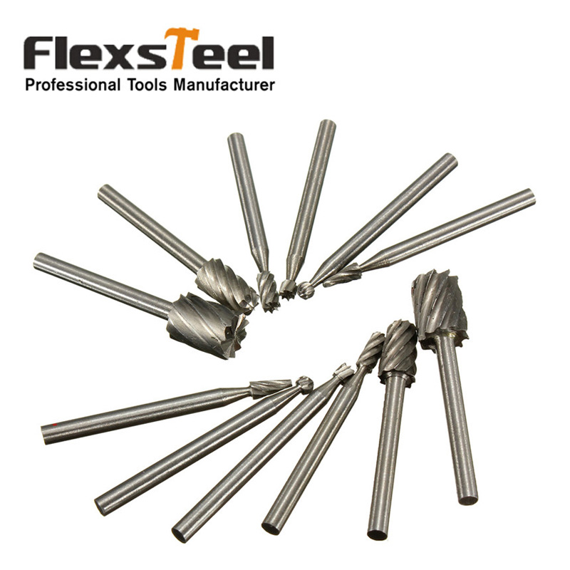 цена на Flexsteel 12pcs 1/8 Shank HSS Router Bit Rotary Burrs File Set Dremel Woodworking Milling Mill Drill Cutter