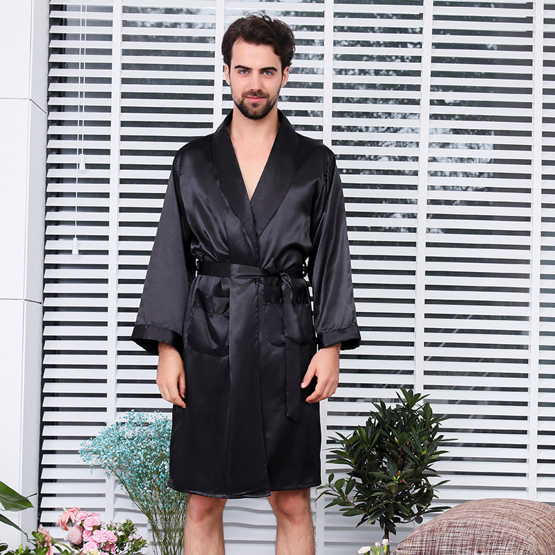 CEARPION Men Bathrobe One-Piece Sleepwear Satin Robe Gown Summer Thin Long Sleeve Pajamas Plus Size Dressing Gown For Men